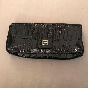 Kate Spade black patten leather embossed clutch